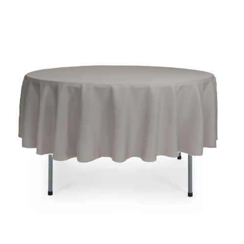 90 Inch Round Polyester Tablecloth Gray