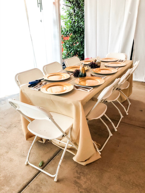 polyester champagne tablecloths