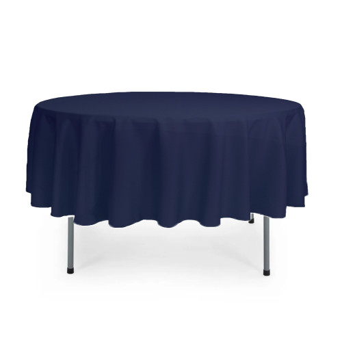 90 inch Round Polyester Tablecloth Navy Blue