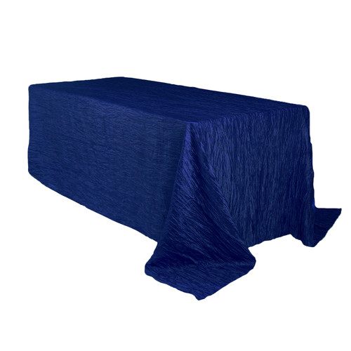 90 x 132 inch Rectangular Crinkle Taffeta Tablecloths Navy Blue