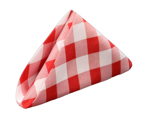 20 inch Polyester Cloth Napkins Checkered Red