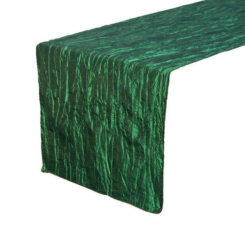 14 x 108 inch Crinkle Taffeta Table Runner Hunter Green