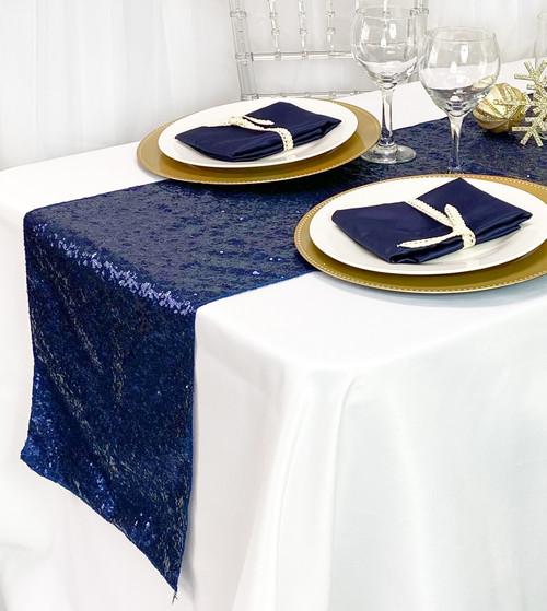 14 x 108 Inch Glitz Sequin Table Runner Navy Blue
