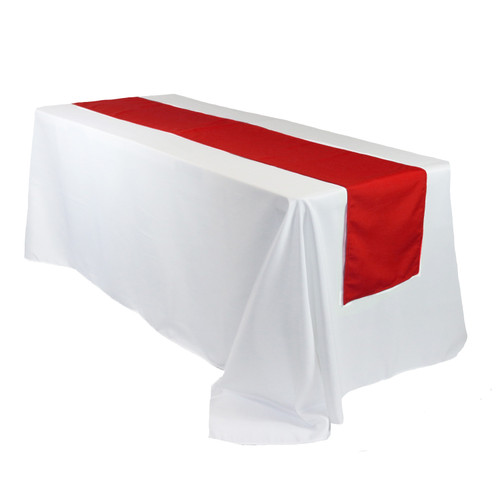 14 x 108 inch Polyester Table Runner Red on rectangular table
