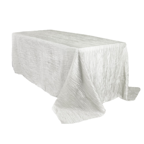 90 x 132 inch Rectangular Crinkle Taffeta Tablecloths White