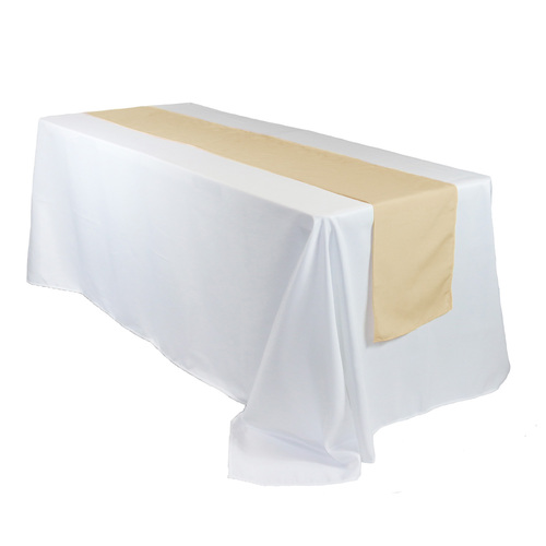 14 x 108 inch Polyester Table Runner Champagne on rectangular table
