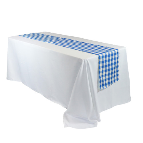 14 x 108 inch Polyester Table Runner Checkered Royal Blue for rectangular tables