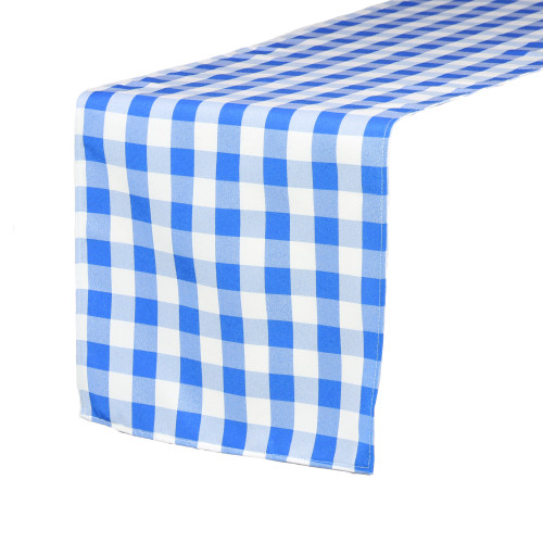14 x 108 inch Polyester Table Runner Checkered Royal Blue