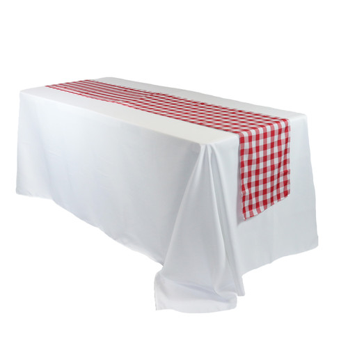 14 x 108 Inch Polyester Table Runner Checkered Red for rectangular tables