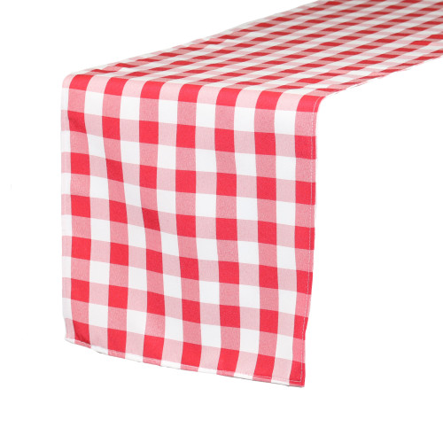 14 x 108 Inch Polyester Table Runner Checkered Red