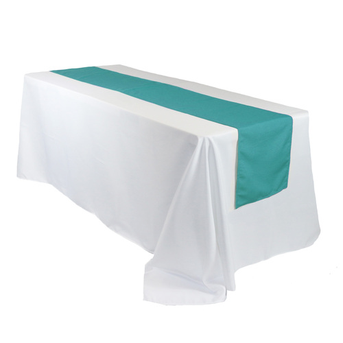 14 x 108 inch Polyester Table Runner Teal on rectangular tables