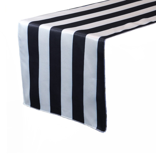 14 x 108 inch Satin Table Runner Black/White Striped
