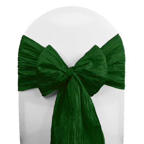 Crinkle Taffeta Chair Sashes Hunter Green