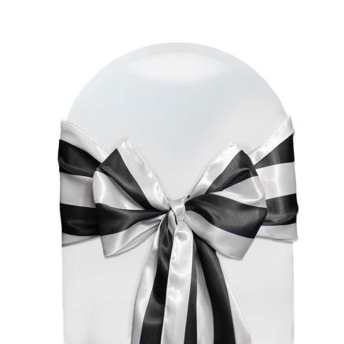 10 Pack Satin Sashes Black/White Striped