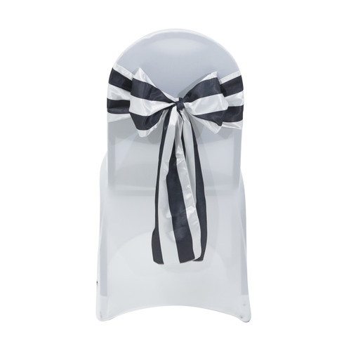 Satin Sashes Black/White Striped