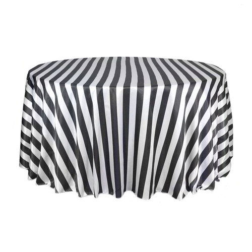 132 Inch Round Satin Tablecloth Black/White Striped