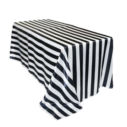 90 x 132 inch Rectangular Satin Tablecloth Black/White Striped