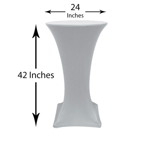 24 inch Highboy Cocktail Round Stretch Spandex Table Cover Silver, Wholesale