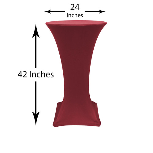 24 inch Highboy Cocktail Round Stretch Spandex Table Cover Burgundy, Wholesale