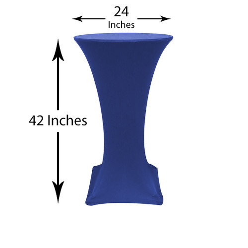 24 inch Highboy Cocktail Round Stretch Spandex Table Cover Royal Blue, Wholesale