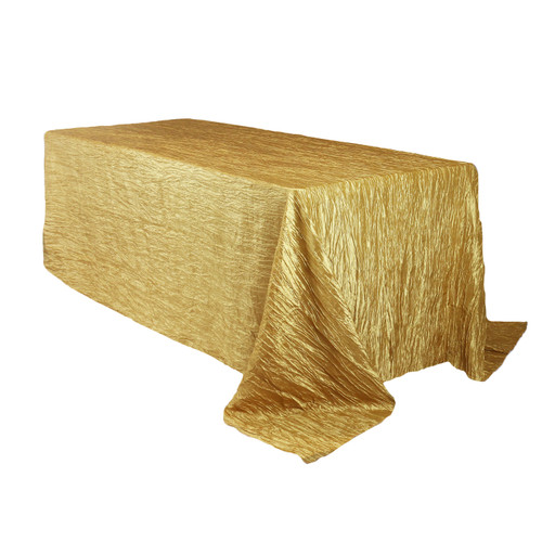 90 x 132 inch Rectangular Crinkle Taffeta Tablecloths Gold