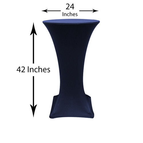 24 inch Highboy Cocktail Round Stretch Spandex Table Cover Navy Blue, Wholesale