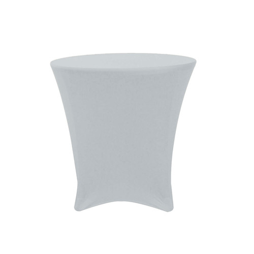 30 x 30 Inch Lowboy Cocktail Round Stretch Spandex Table Cover Silver