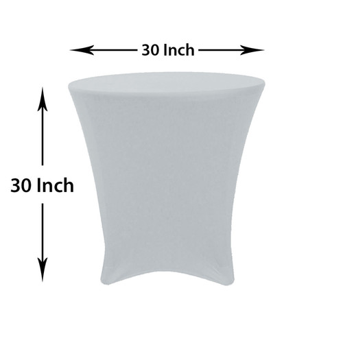 30 x 30 inch Lowboy Cocktail Round Stretch Spandex Table Cover Silver, Wholesale