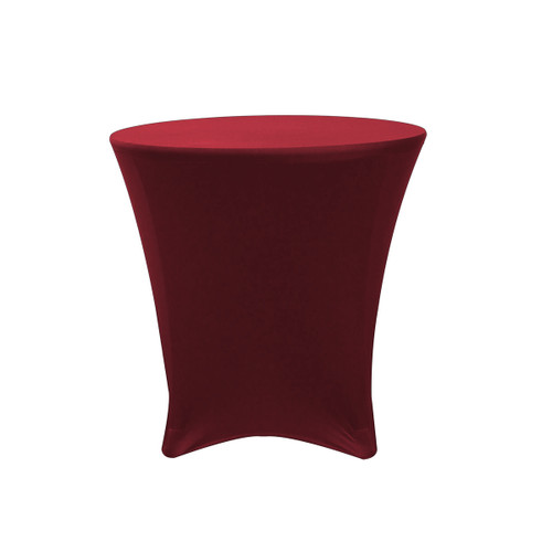 30 x 30 inch Lowboy Cocktail Round Stretch Spandex Table Cover Burgundy