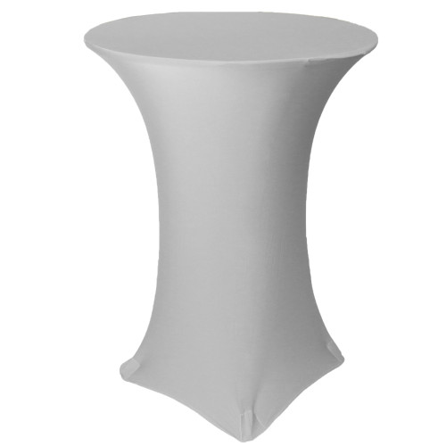 32 inch Highboy Cocktail Round Stretch Spandex Table Cover Silver