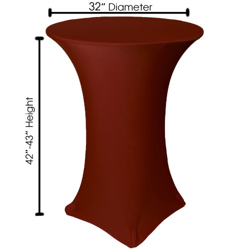 32 inch Highboy Cocktail Round Stretch Spandex Table Cover Burgundy, Wholesale