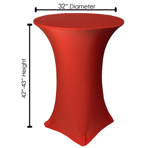 32 inch Highboy Cocktail Round Stretch Spandex Table Cover Red, Wholesale