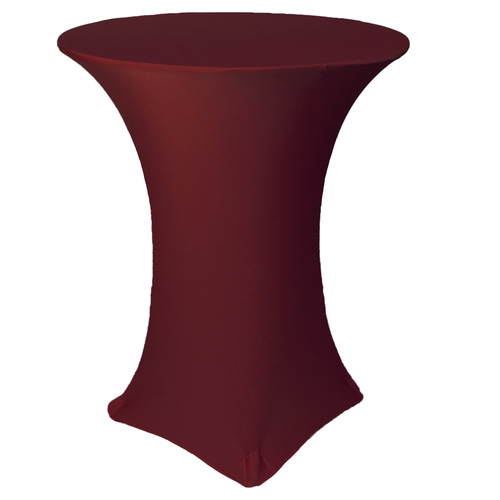 36 inch Highboy Cocktail Round Stretch Spandex Table Cover Burgundy