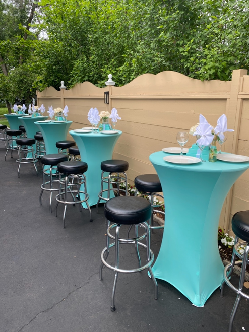 Tiffany blue high top cocktail table covers