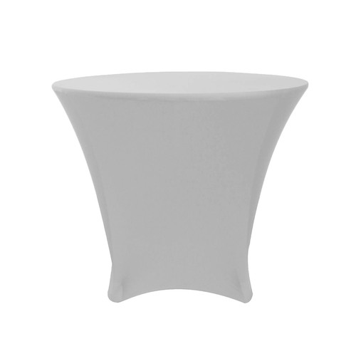 36 x 30 inch Lowboy Cocktail Round Stretch Spandex Table Cover Silver