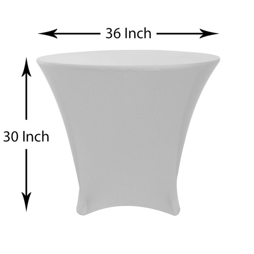 36 x 30 inch Lowboy Cocktail Round Stretch Spandex Table Cover Silver for Events, Parties, Weddings