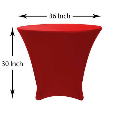 36 x 30 inch Lowboy Cocktail Round Stretch Spandex Table Cover Red, Wholesale