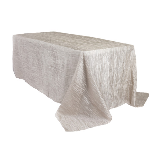 90 x 132 inch Rectangular Crinkle Taffeta Tablecloths Ivory