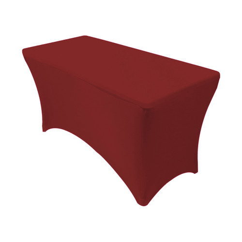 Stretch Spandex 4 ft Rectangular Table Cover Burgundy