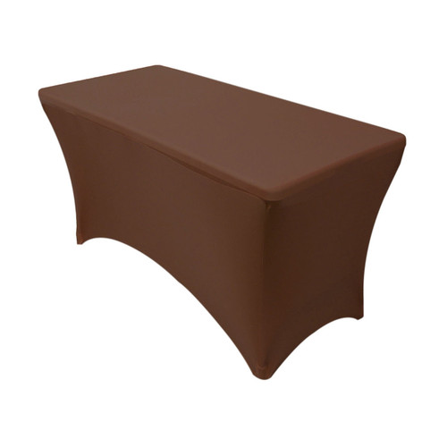 Stretch Spandex 4 ft Rectangular Table Cover Chocolate Brown