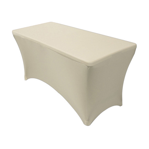 Stretch Spandex 4 ft Rectangular Table Cover Ivory