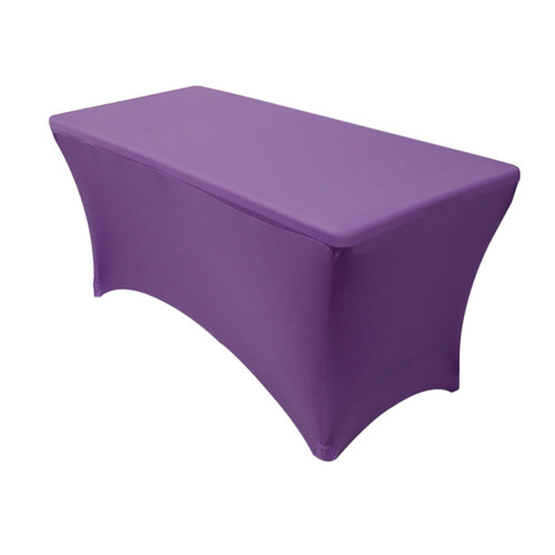 Spandex 4 Ft Rectangular Table Cover Purple