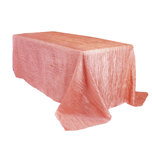 90 x 132 inch Rectangular Crinkle Taffeta Tablecloths Coral
