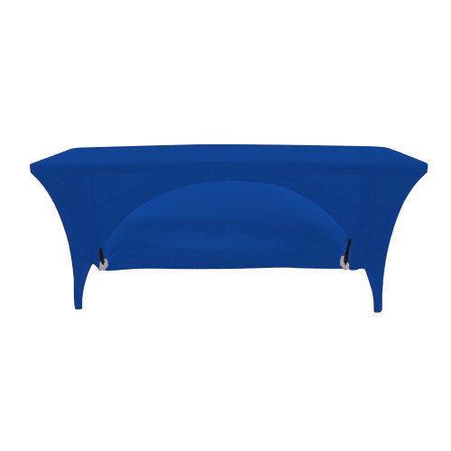 Stretch Spandex 6 Ft Open Back Rectangular Table Cover Royal Blue