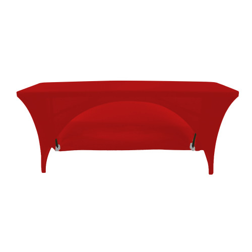 Stretch Spandex 6 Ft Open Back Rectangular Table Cover Red