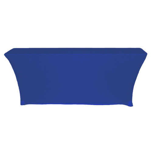 Spandex 6 Ft x 18 Inches Open Back Rectangular Table Cover Royal Blue back view