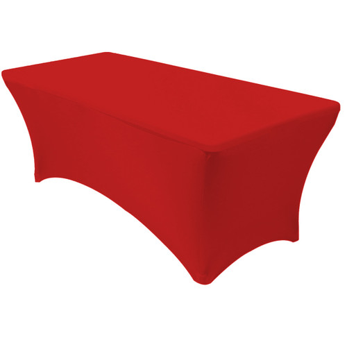 Stretch Spandex 8 ft Rectangular Table Cover Red
