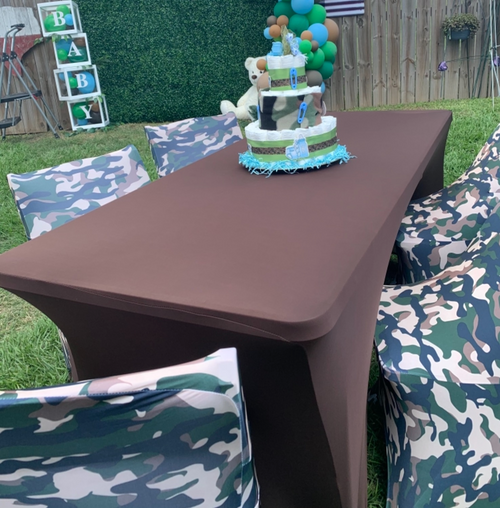 brown table covers