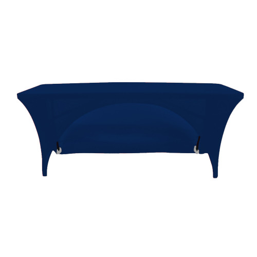 Stretch Spandex 8 Ft Open Back Rectangular Table Cover Navy Blue