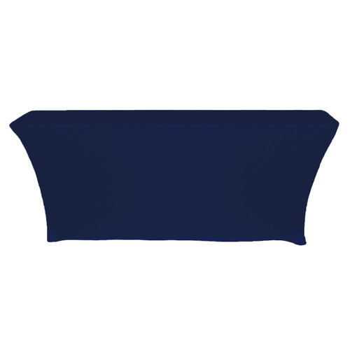 Stretch Spandex 8 Ft Open Back Rectangular Table Cover Navy Blue, Wholesale